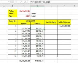 Fungsi IPMT Bunga Pinjaman Koperasi 03