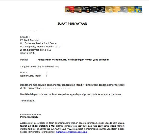 Surat Pernyataan Penggantian Kartu (karena diketahui pihak lain) Replacement