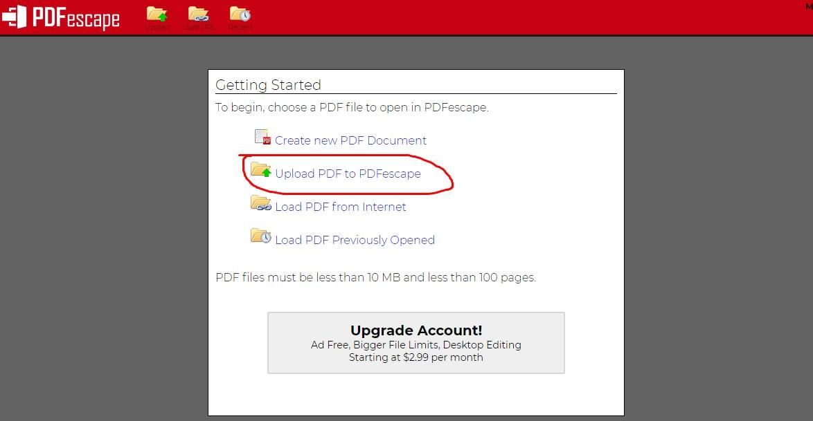 Upload File PDF yang akan di isi ke PDFEscape